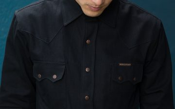 Indigofera-8oz.-Black-x-Black-Denim-Ryman-Western-Shirt-model-front-detailed