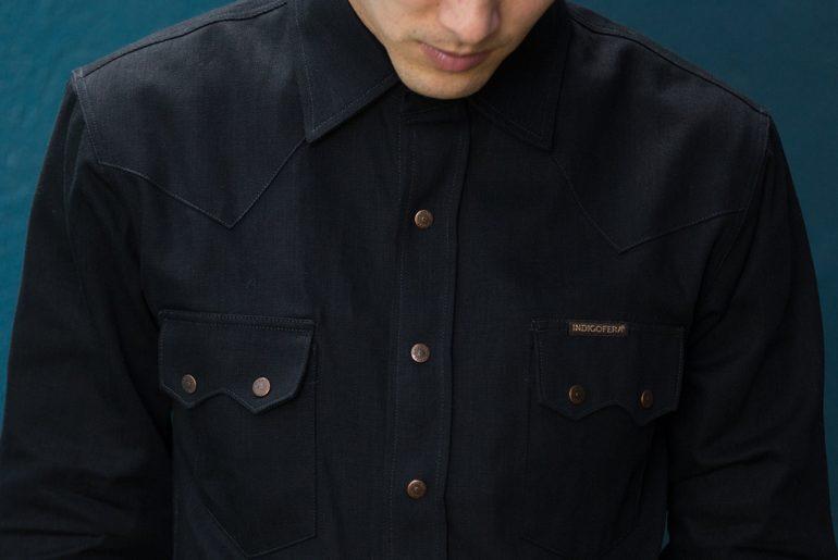 Indigofera-8oz.-Black-x-Black-Denim-Ryman-Western-Shirt-model-front-detailed