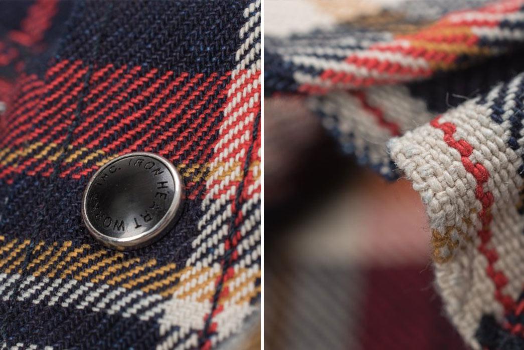 Iron-Heart-Indigo-Dyed-10oz.-Check-Selvedge-Flannel-Western-Shirt-button-and-edge