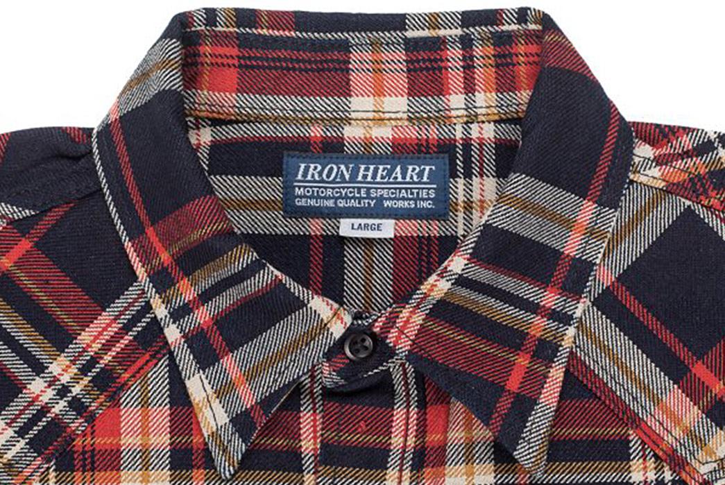 Iron-Heart-Indigo-Dyed-10oz.-Check-Selvedge-Flannel-Western-Shirt-front-top-collar