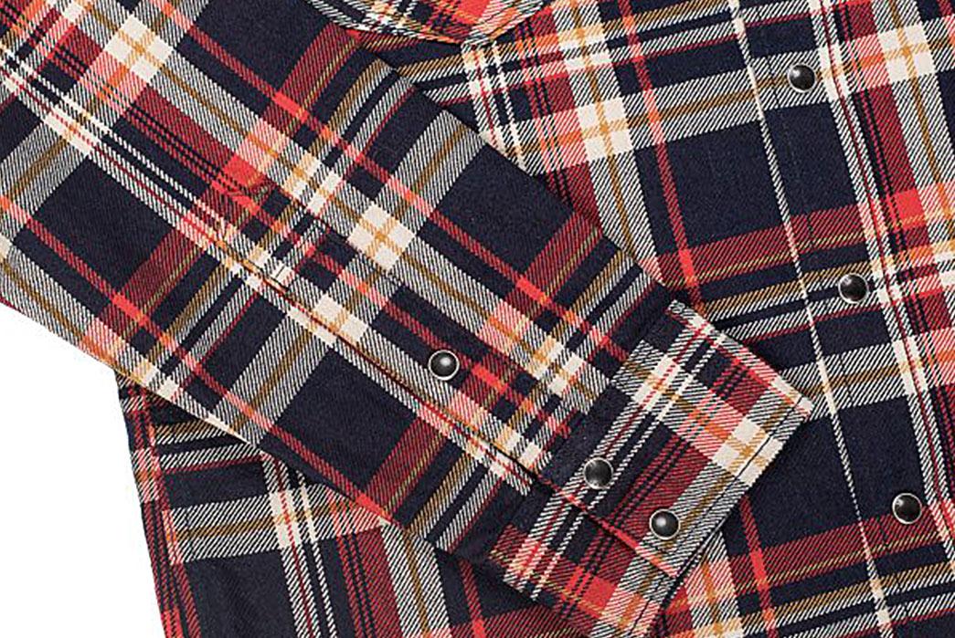 Iron-Heart-Indigo-Dyed-10oz.-Check-Selvedge-Flannel-Western-Shirt-sleeve
