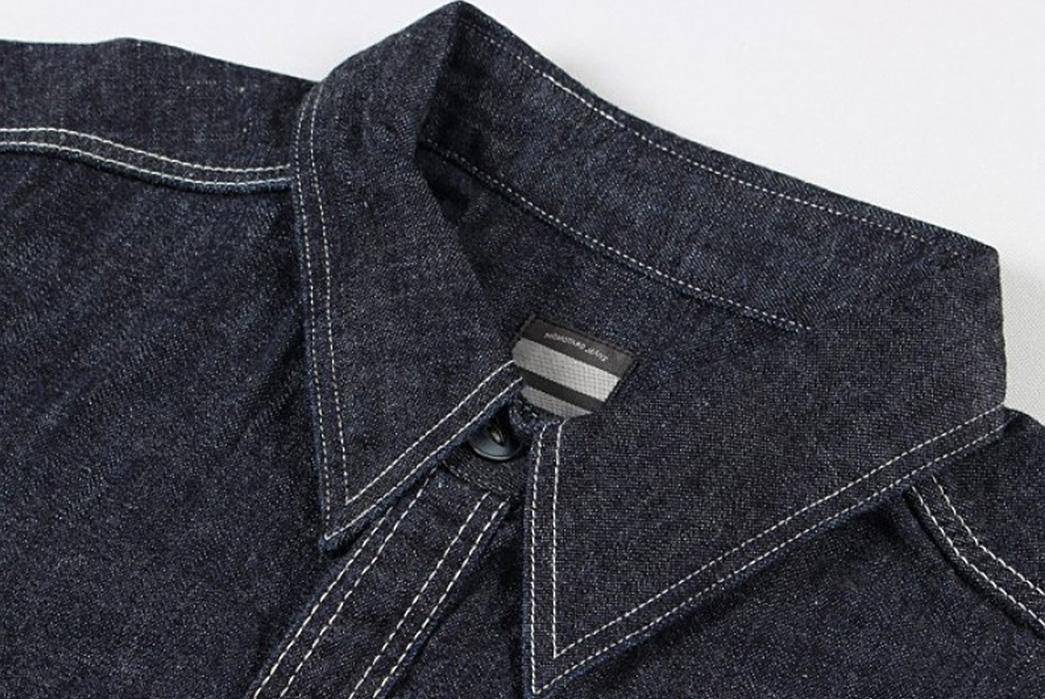 Momotaro-Multi-Pocket-Indigo-Denim-Shirt-front-collar