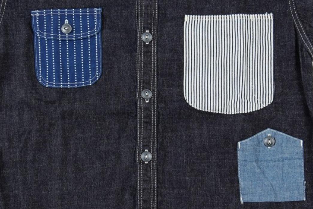Momotaro-Multi-Pocket-Indigo-Denim-Shirt-front-detailed