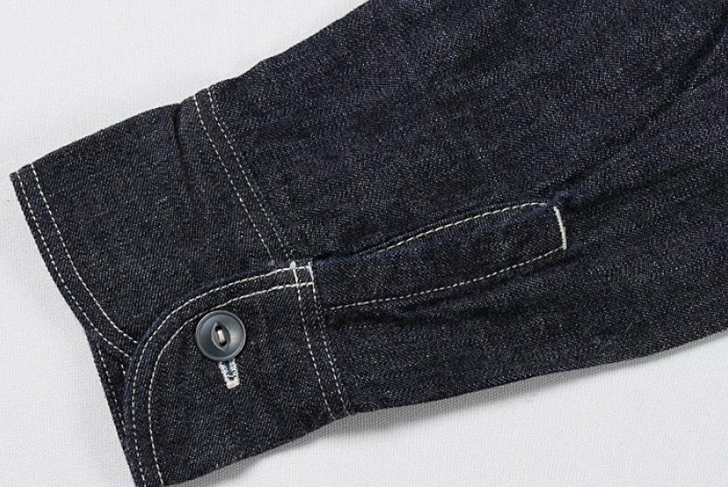 Momotaro-Multi-Pocket-Indigo-Denim-Shirt-sleeve