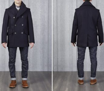 Private-White-V.C.-Manchester-Wool-Pea-Coat-model-front-back