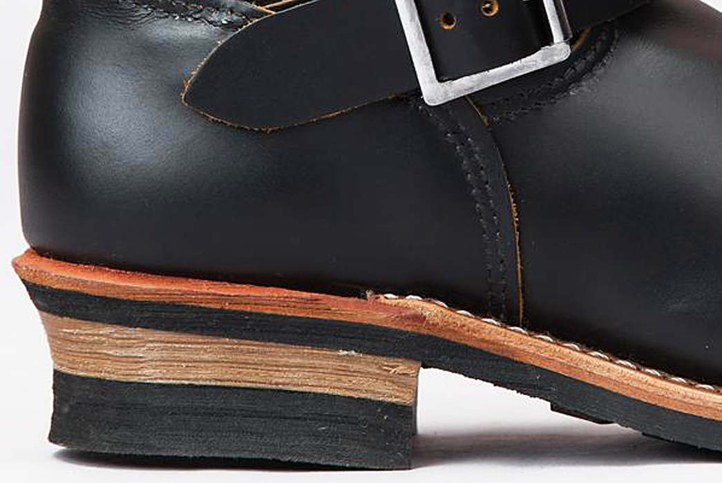 Shoe-Anatomy-101---Vamp,-Welt,-Quarter-and-More-Leather-stacked-heel-on-a-pair-of-Red-Wing-Engineer-Boots
