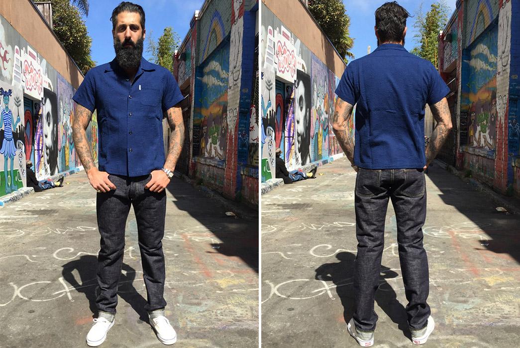 The-Strike-Gold-SEXSG24-Wavy-Standard-Raw-Denim-Jeans-model-front-back