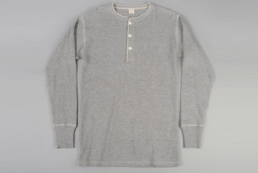 Warehouse-Henley-Waffle-Thermal-Shirt-front