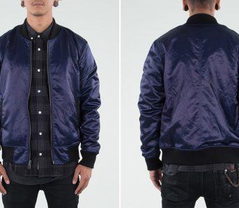 3sixteen-indigo-satin-stadium-jacket-model-front-back