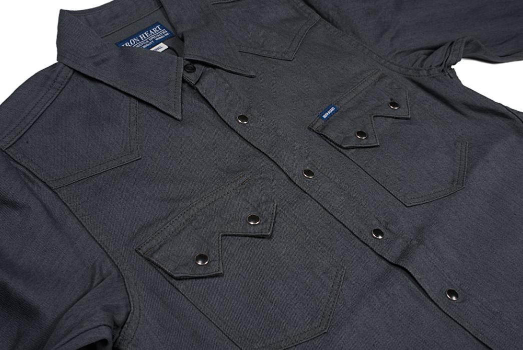 Iron-Heart-8.5oz.-Greycast-Sawtooth-Denim-Shirt-front-angle