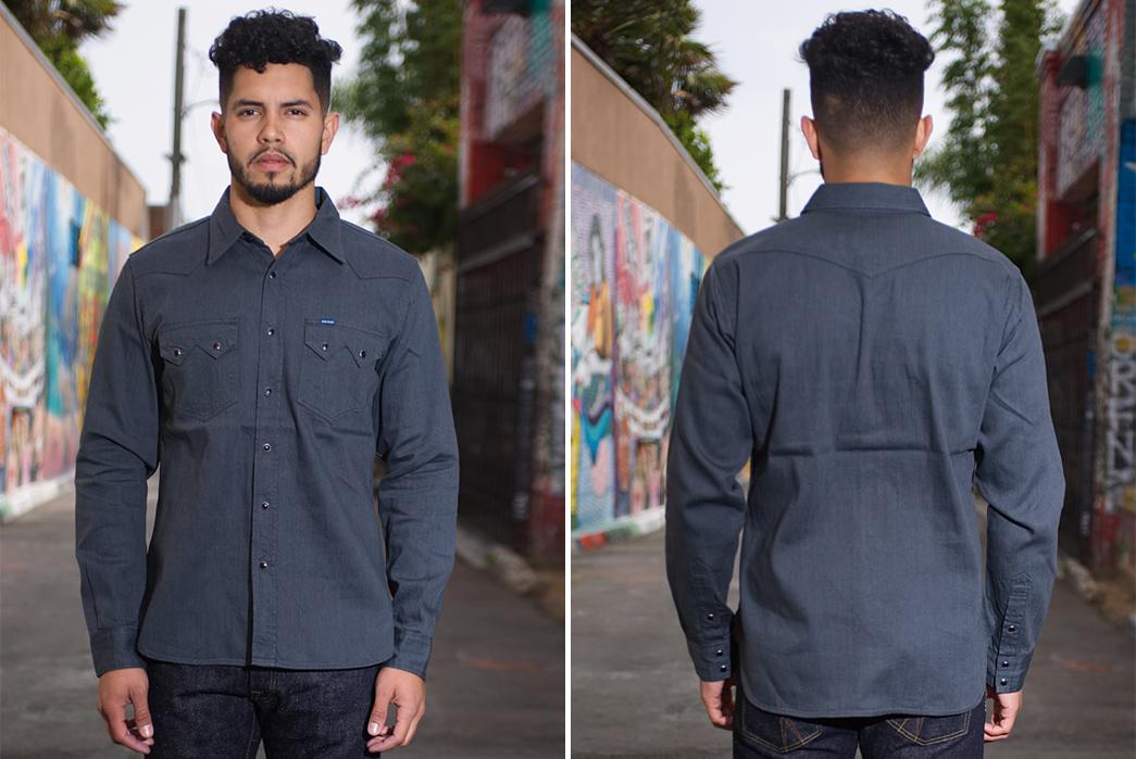 Iron-Heart-8.5oz.-Greycast-Sawtooth-Denim-Shirt-model-front-back