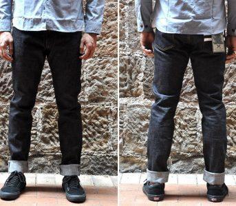 Momotaro-0405-VSP-High-Taper-Fit-Jeans-model-front-back