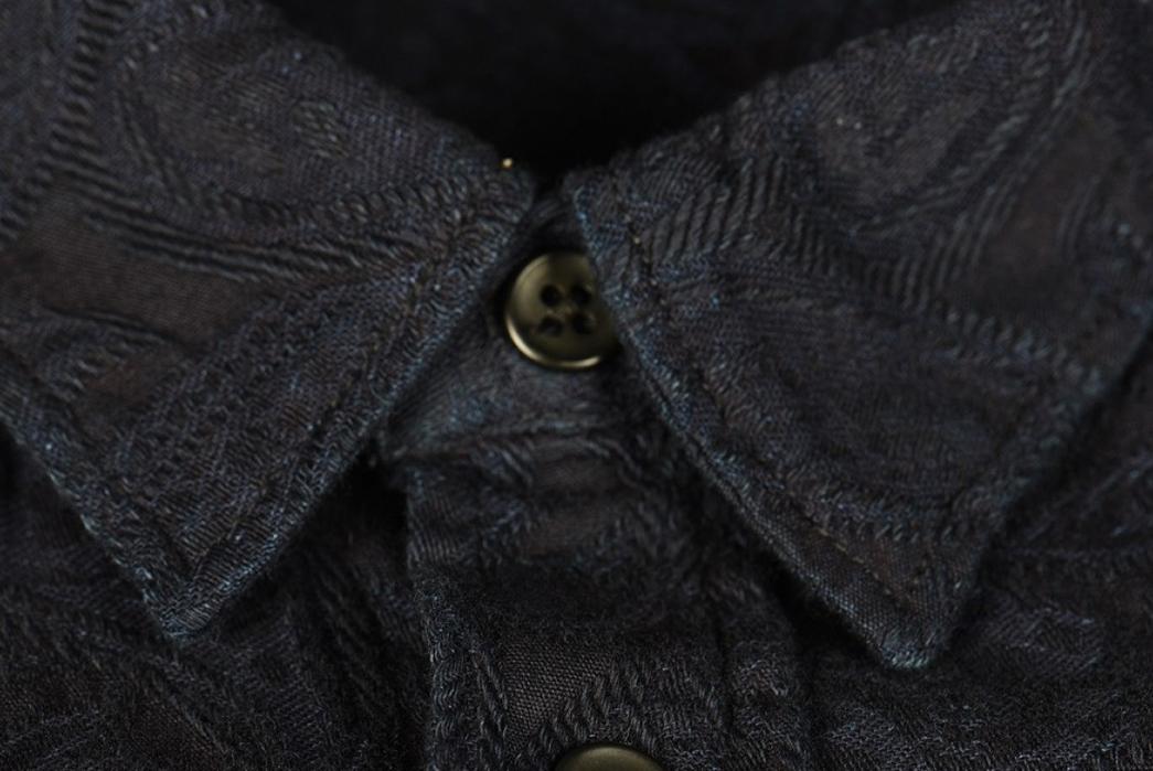 Pure-Blue-Japan-Indigo-Jacquard-Paisley-Shirt-front-collar