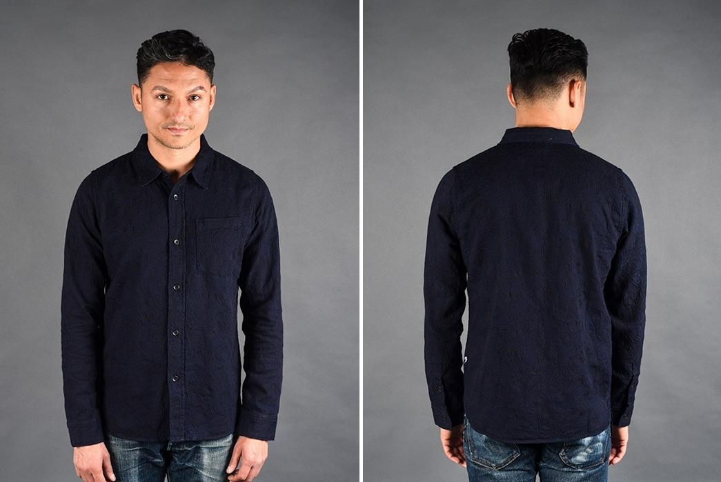 Pure-Blue-Japan-Indigo-Jacquard-Paisley-Shirt-model-front-back