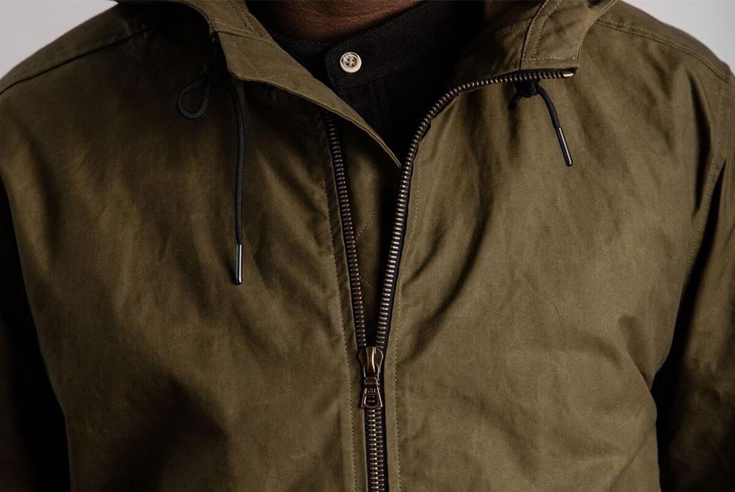 Wilson-&-Willy's-Dry-Wax-Anorak-Jacket-model-front-top-zipper