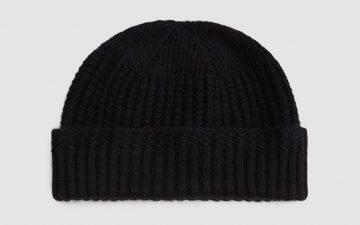 beams-plus-cashmere-mil-cap-black-front