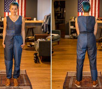 fischer-clothing-6oz-japanese-denim-patchwork-jumpsuit-model-front-back
