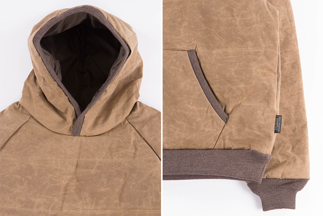 rocky-mountain-featherbed-brown-paraffin-down-pullover-hoody-front-detailed-and-down-left