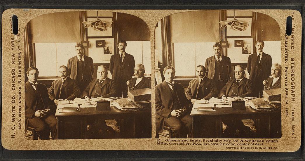 who-killed-the-cone-mills-white-oak-plant-stereoscope-of-cesar-cone-center-at-desk-image-via-wikimedia