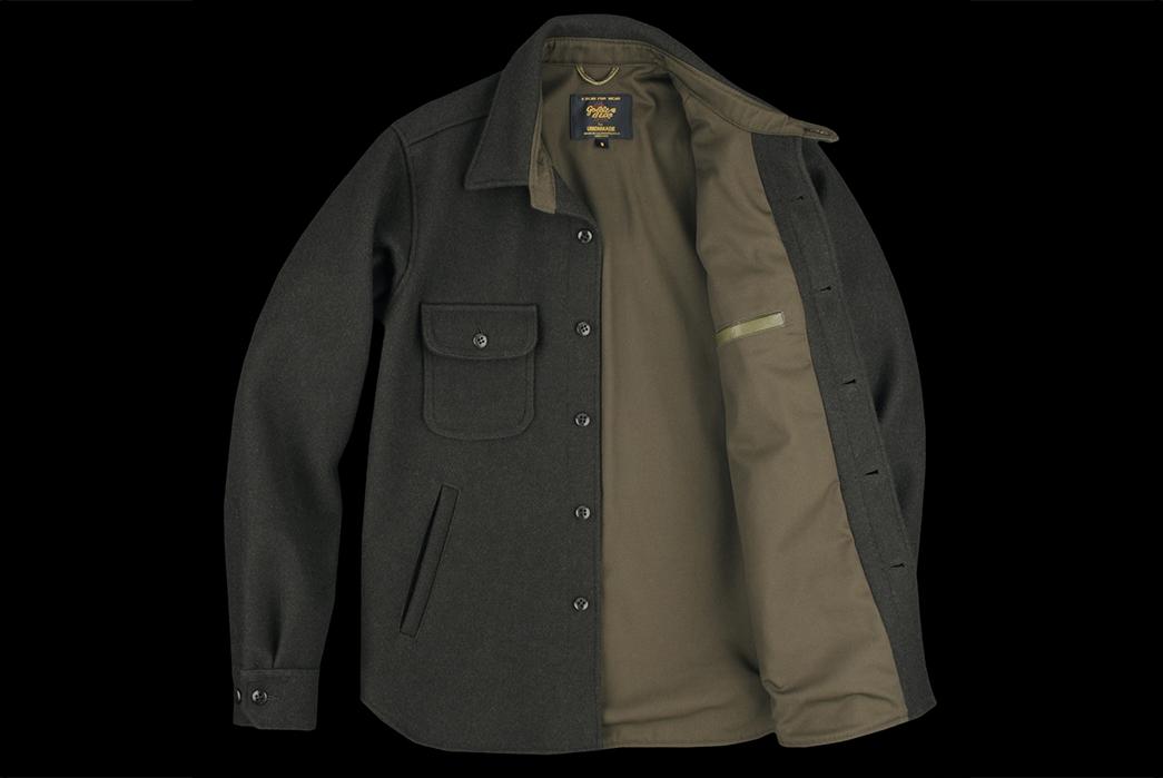 golden-bear-for-unionmade-32oz-melton-cpo-shirt-jackets-loden-front-open