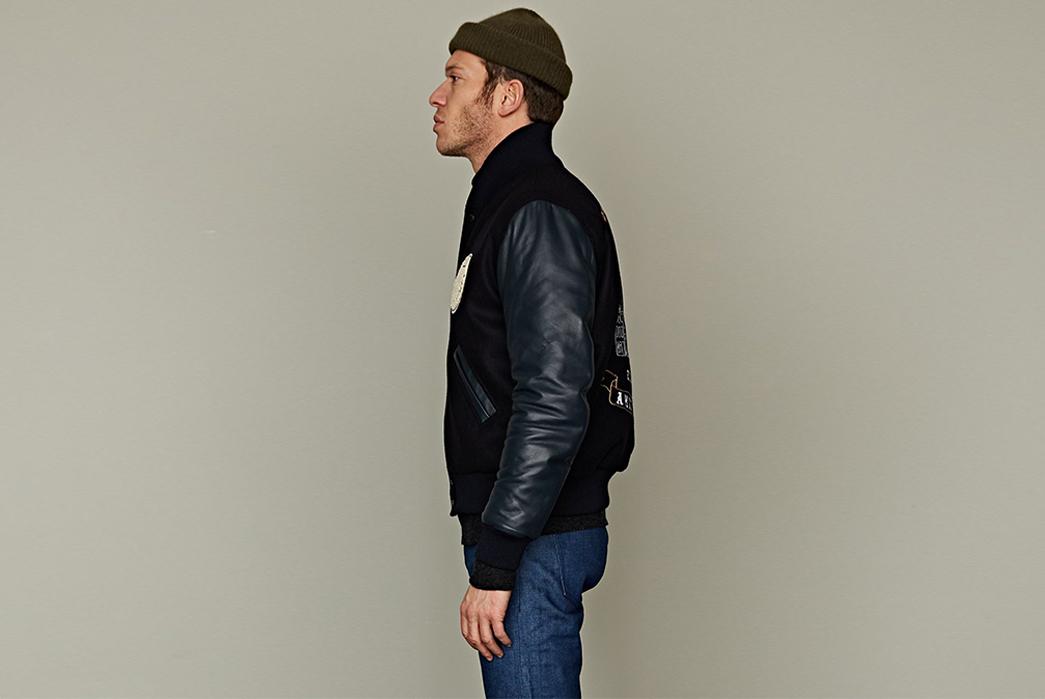 tenue-de-nimes-celebrates-nine-yars-with-an-indigo-lambskin-varsity-jacket-model-side