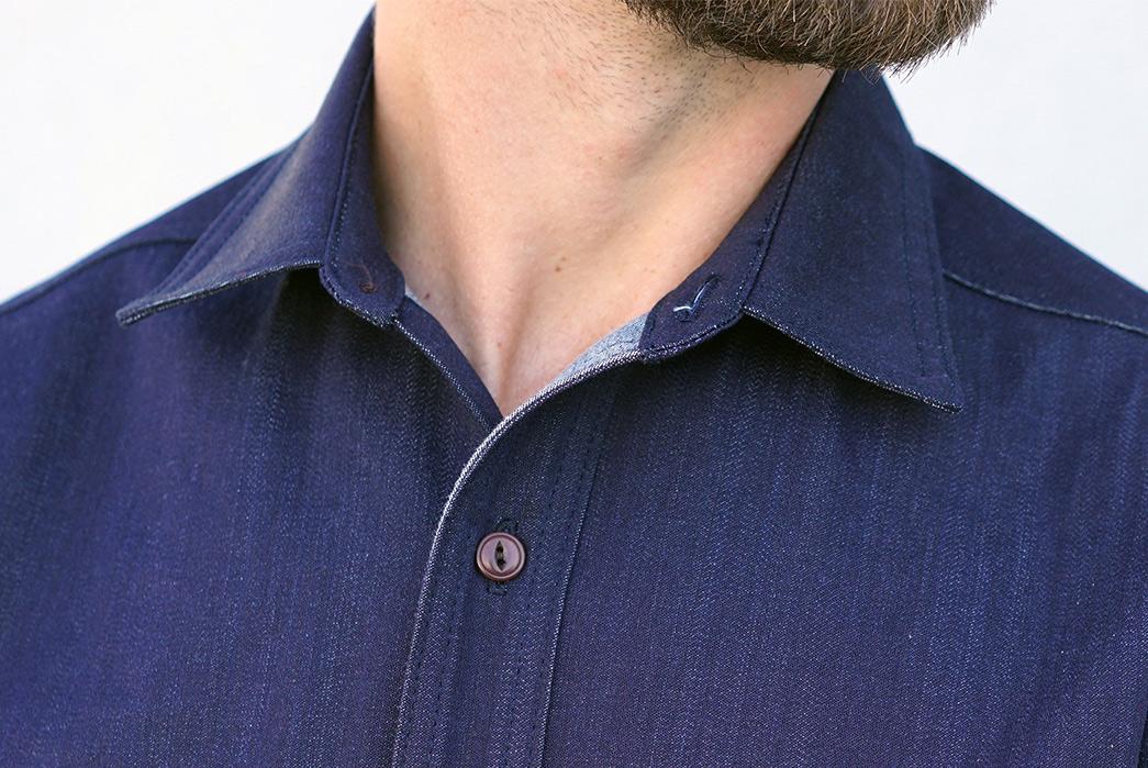epaulets-9oz-kuroki-denim-chainstitch-shirt-is-primed-for-roping-model-front-collar