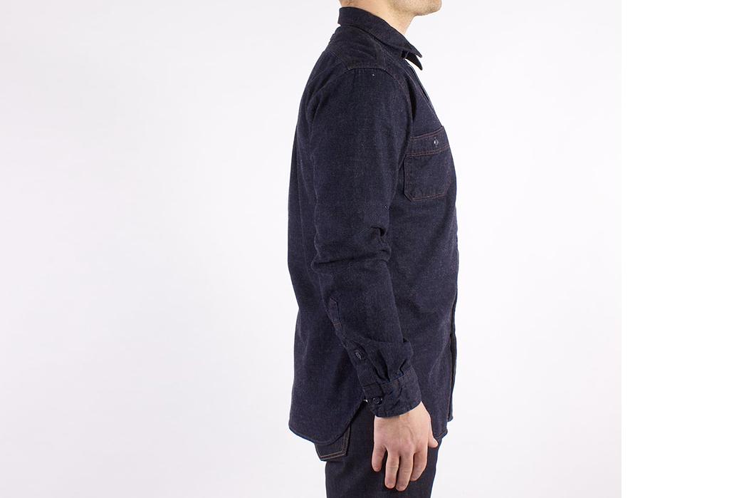 dickies-1922-7-5oz-washed-japanese-selvedge-denim-work-shirt-model-side