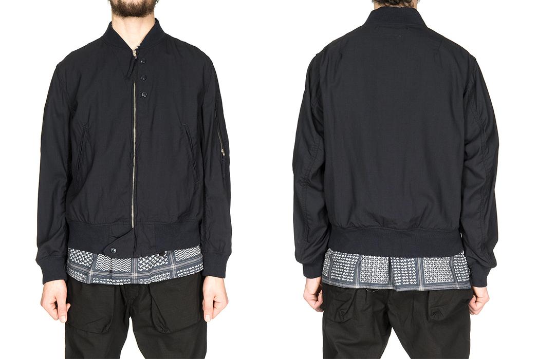 engineered-garments-aviator-jacket-mixes-wool-and-cordura-model-front-back