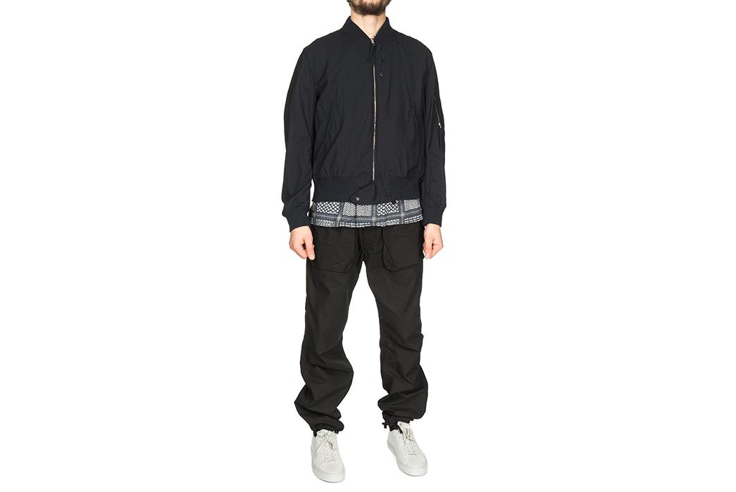 engineered-garments-aviator-jacket-mixes-wool-and-cordura-model-front