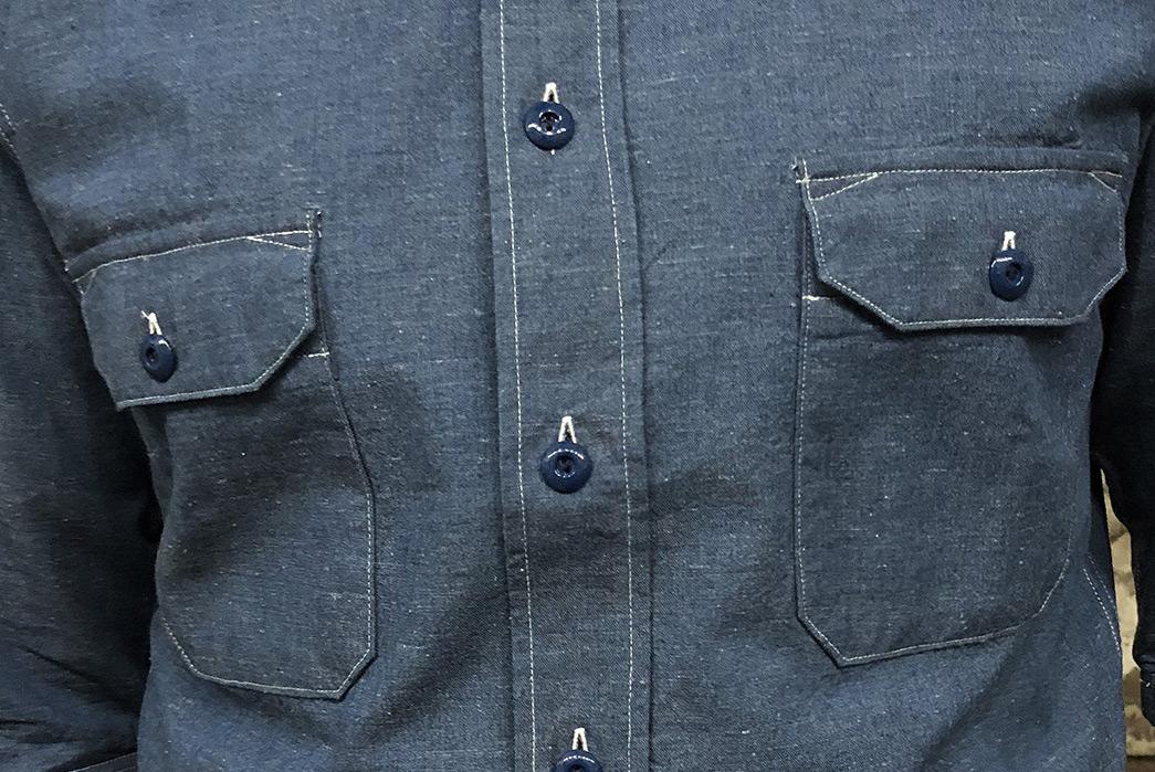 indigofera-delray-recycled-cotton-chambray-shirt-model-front-pockets