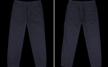 universal-works-double-denim-herringbone-fatigue-pants-front-back