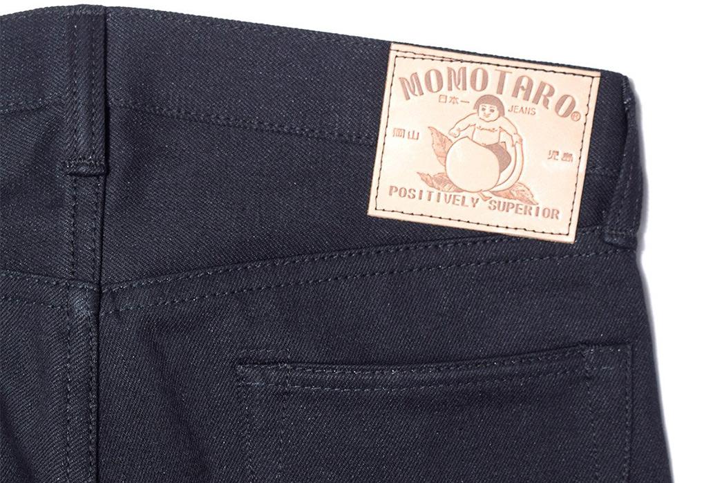 Momotaro-0405-B-Double-Black-Jeans-back-leather-patch
