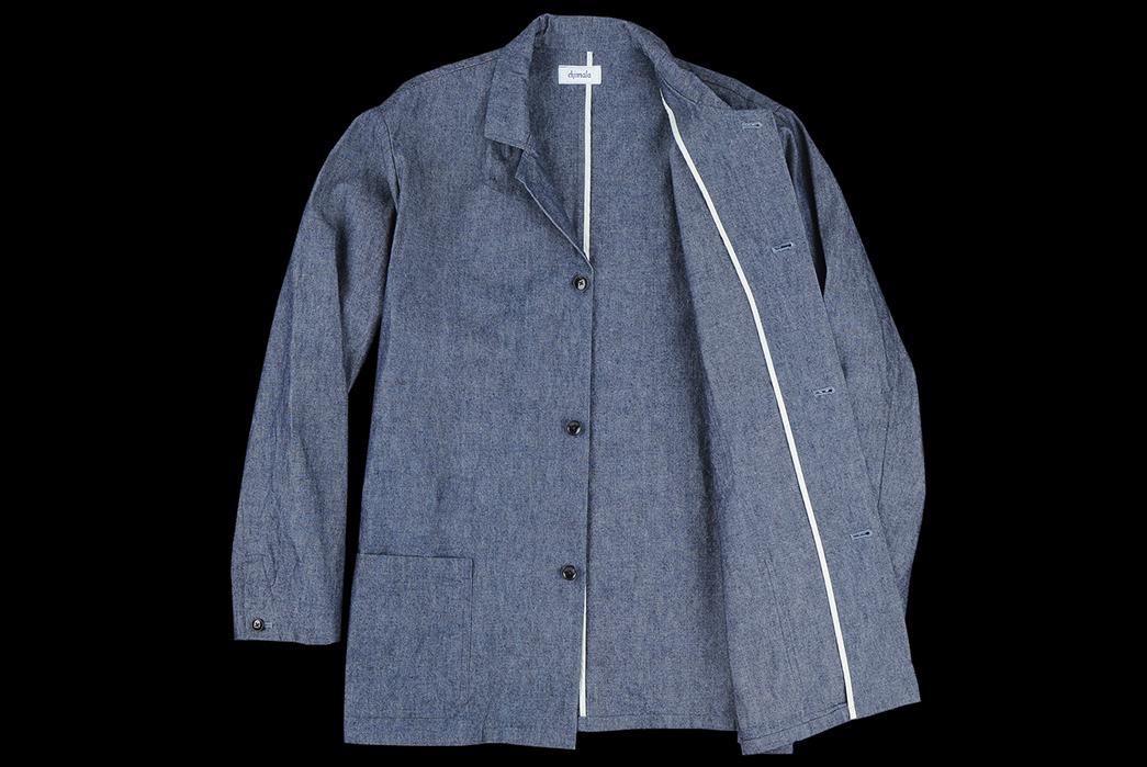 Chimala-10oz.-Selvedge-Chambray-Work-Coat-front-open
