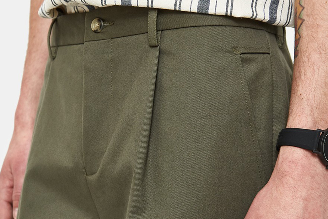 Chino-Style-Shorts---Five-Plus-One-2)-Editions-M.R.-Pleated-Short-in-Khaki