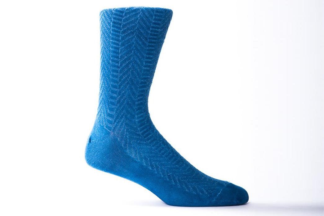 Indigo-Dyed-Socks---Five-Plus-One 1) American Trench: Supima Herringbone Socks in Indigo