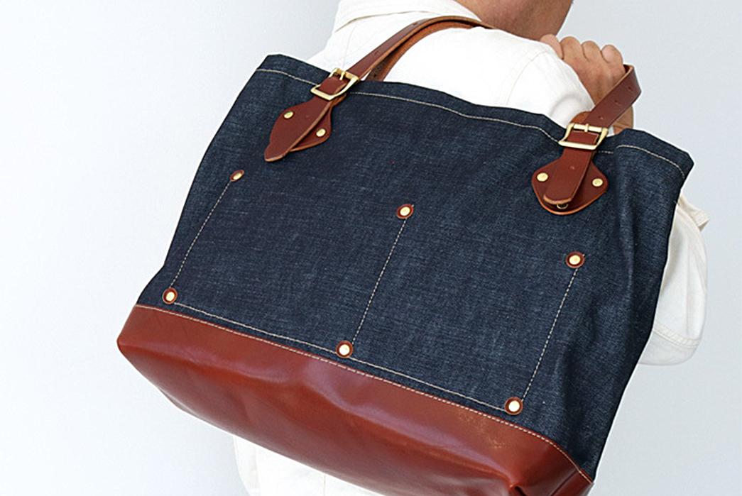 Japan-Blue-Denim-and-Leather-Tote-Bag-model-bag-on-shoulder