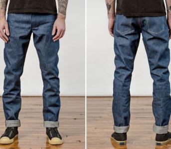 Left-Field-Cone-Mills-White-Oak-Natural-Indigo-Jeans-model-front-back