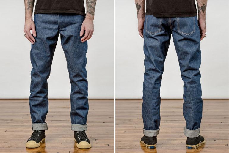 Left-Field-Cone-Mills-White-Oak-Natural-Indigo-Jeans-model-front-back</a>