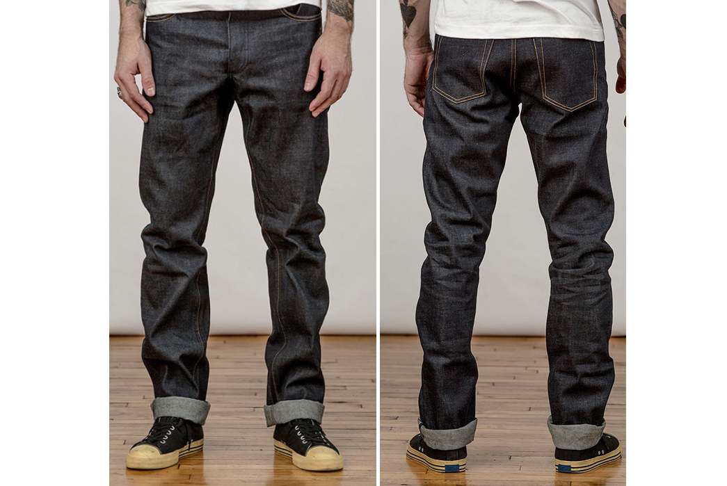 Left-Field-NYC-Greaser-Cone-Mills-Greaser-Raw-Denim-Jeans-model-front-back