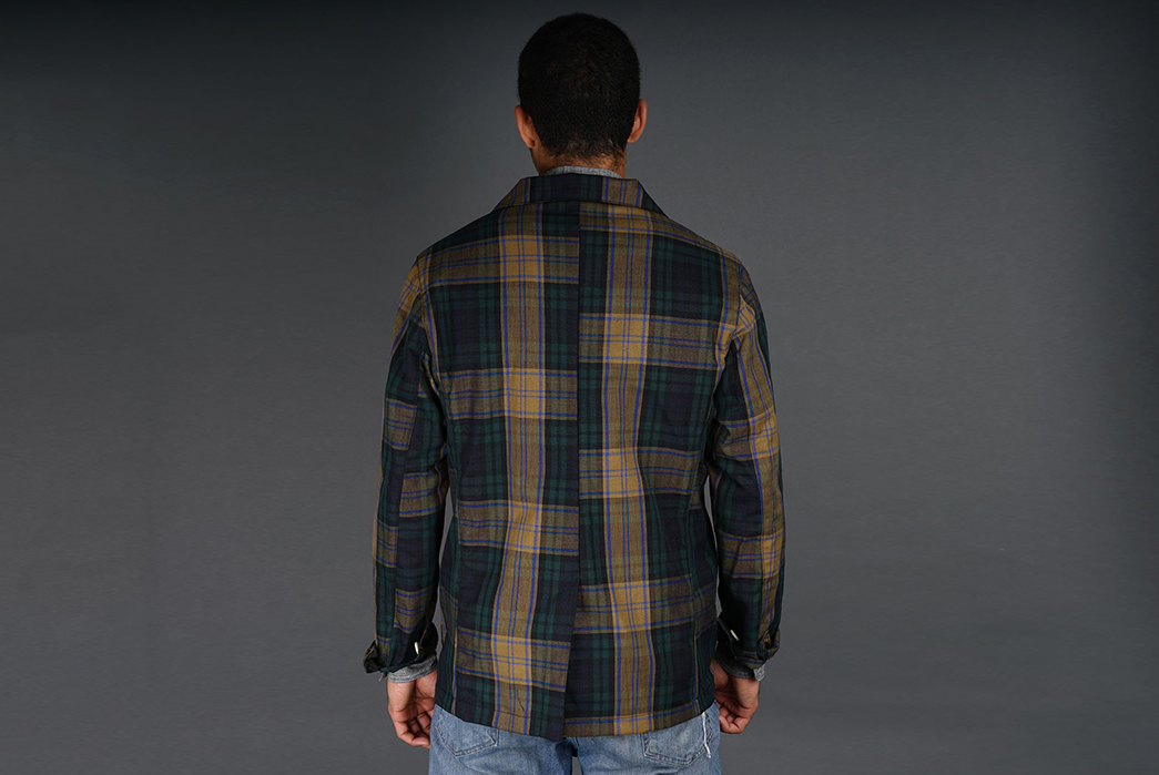 Madras-Plaid-and-Silk-Blend-Together-for-a-Summery-Version-of-Epaulet's-Doyle-Jacket-model-back