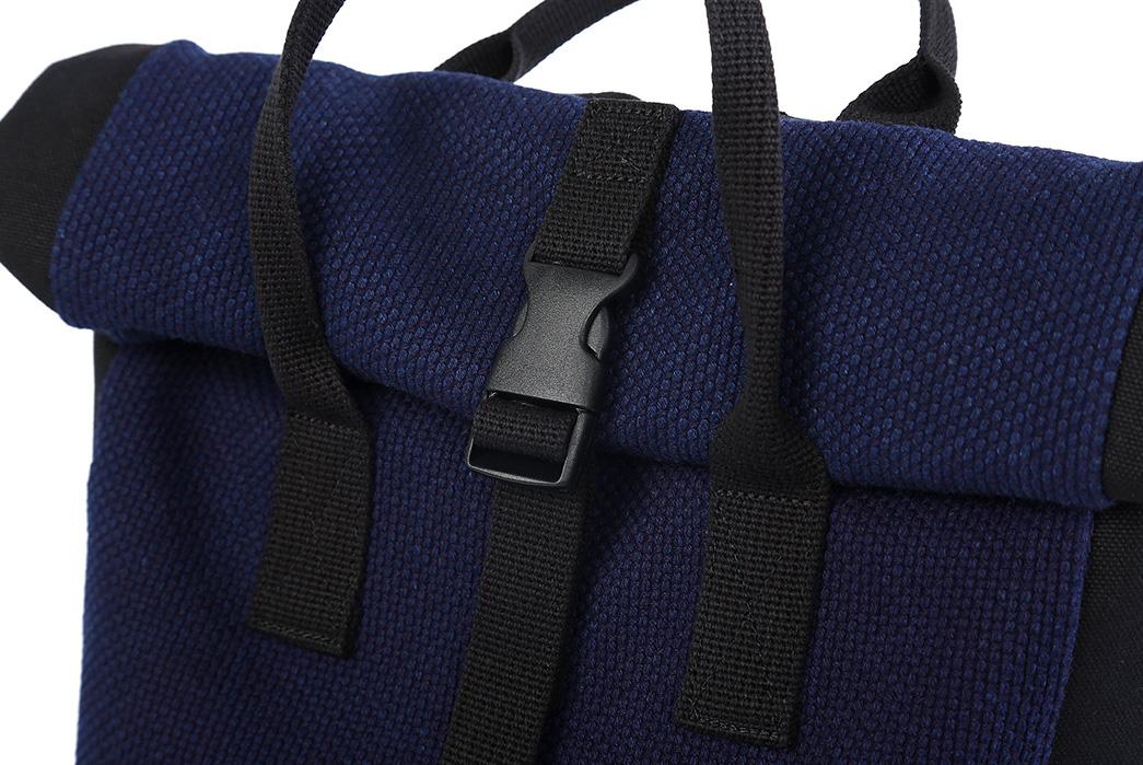 Momotaro-Indigo-Sashiko-Two-Way-Backpack-front-buckle