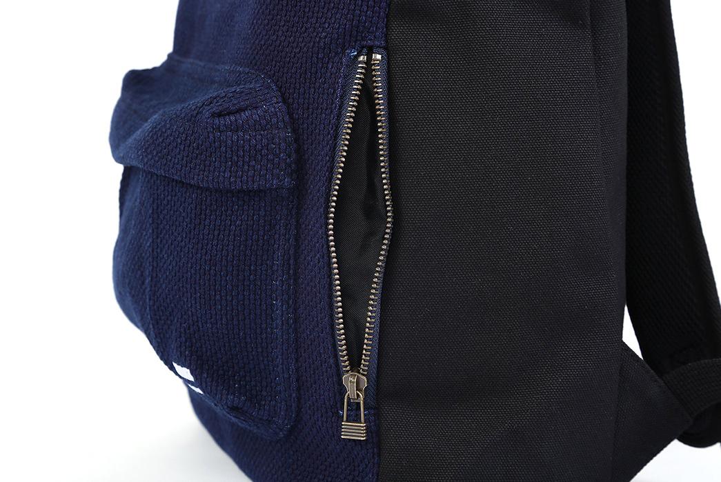 Momotaro-Indigo-Sashiko-Two-Way-Backpack-side-zipper