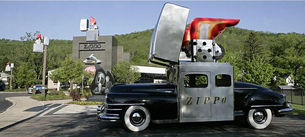 The-Lasting-Draw-of-Zippo-Lighters-Zippo-Car-in-front-of-Zippo-factory-Bradford,-PA.-Image-via-Tripadvisor.
