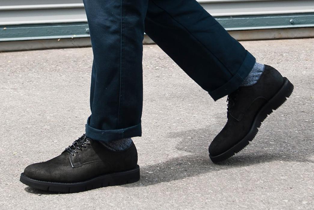 Viberg-x-Lost-&-Found-Reverse-Camel-Black-Derby-model-pair-side-walking