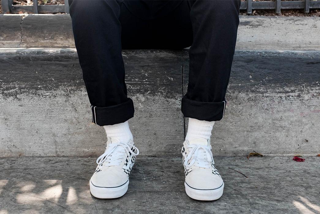 3sixteen's-Shadow-Selvedge-and-Double-Black-Denim-Shed-a-Few-Ounces-model-leg-selvedges