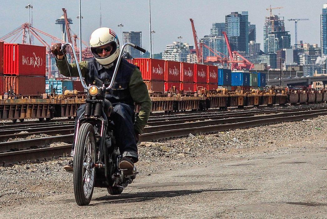 Black-Bear-WWII-Shirt-Jacket-on-bike-railroads