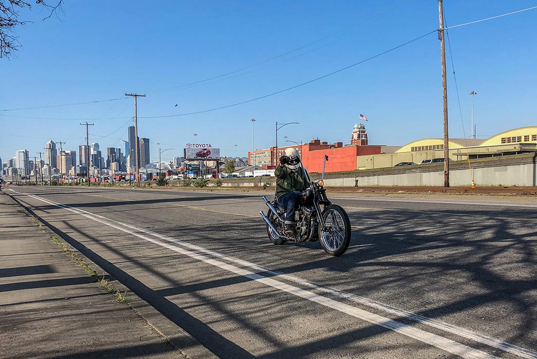 Black-Bear-WWII-Shirt-Jacket-on-bike-road