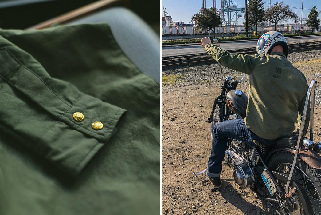 Black-Bear-WWII-Shirt-Jacket-sleeve-and-on-bike