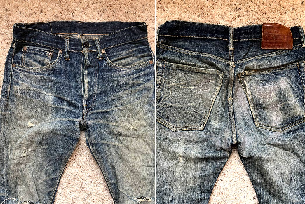 Fade-of-the-Day---Sugar-Cane-x-Self-Edge-SEXSC06-(3-Years,-3-Washes,-1-Soak)-front-back-top