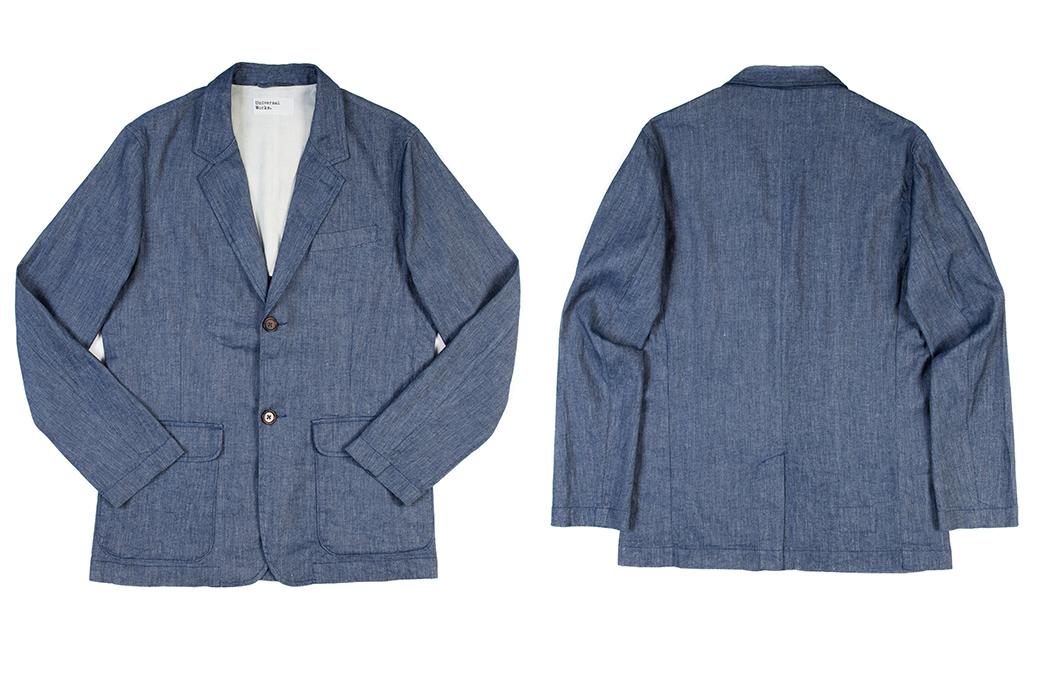 Linen-Blazers---Five-Plus-One-1)-Corridor-NYC-Ticking-Stripe-Linen-Blazer-3)-Universal-Works-Two-Button-Jacket-in-Indigo-Linen-Slub